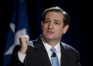 Candidate Ted Cruz attacks Lt. Governor David Dewhurst in a U.S. Senate candidate debate at the Hilton in Austin on January 12, 2012.