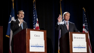 Ted Cruz and Lt. Gov. David Dewhurst, right, at a U.S. Senate candidate debate on Jan. 12, 2012.
