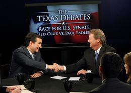Ted Cruz and Paul Sadler during the KERA/Texas Tribune debate for U.S. Senate on Oct. 19, 2012.