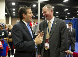 Ted Cruz, left, then a U.S. Senate candidate, speaks with Michael Quinn Sullivan of Empower Texas at the state Republican convention on June 7, 2012.