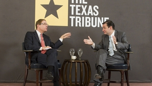 U.S. Senate candidate Ted Cruz makes a point to moderator Evan Smith during a TribLive event on September 9, 2011.