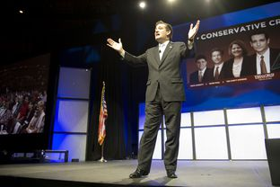 Ted Cruz speaking at the state Republican convention in Fort Worth on June 9, 2012.