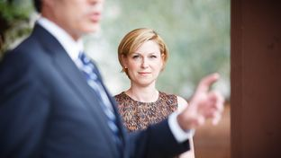 Texas State Representative Sarah Davis listens to speaker of the house Joe Straus introducer her at a fundraiser in a private home in Houston Wednesday, October 3, 2012.