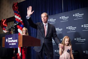 Texas Lt. Gov. David Dewhurst on stage at his primary watch party in Houston, Tuesday May 29, 2012