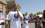 Student Dalton Sherman of the Dallas school district speaks to thousands protesting education budget cuts at the Texas Capitol on March 12, 2011.