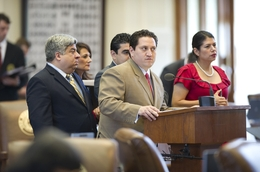 "House Democrats, including Rep. Trey Martinez Fischer, at microphone, call a point of order on a ""sanctuary cities"" bill on May 6, 2011."