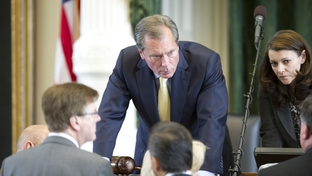 Lt. Governor David Dewhurst listens to members after the Texas Senate voted, 19-12, to pass the budget on May 4, 2011.