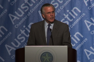 President and CEO of the Federal Reserve Bank of Dallas speaks at the Greater Austin Chamber of Commerce annual Economic Forecast event at the Hilton Hotel in Austin, TX - Dec. 16, 2011