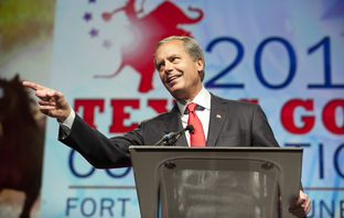 Lt. Governor David Dewhurst points at a delegate that interrupted his speech at the Texas Republican Convention on June 8, 2012.