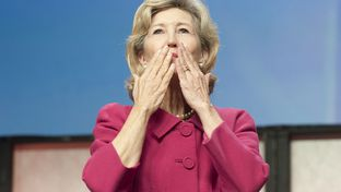 U.S. Sen. Kay Bailey Hutchison kisses goodbye to the Texas Republican Convention on June 8, 2012.