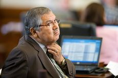 Texas state Sen. Mario Gallegos (D-Houston) is shown in the Texas Senate chamber on May 4, 2011.