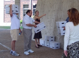 Green Party officials drop off about 93,000 signatures to the Texas Secretary of State.
