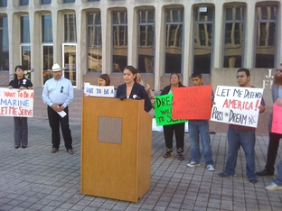Julieta Garibay speaks in support of the DREAM Act in Austin.