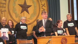 Scott Cobb with the Texas Moratorium Network speaks at a press conference for the March to Abolish the Death Penalty on October 29, 2010.