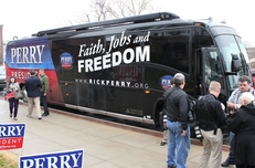 Rick Perry's first stop for his presidential campaign bus tour in Council Bluffs, Iowa, on Dec. 14, 2011.