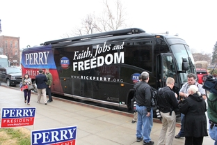 Gov. Rick Perry's bus for his 16-day tour of Iowa