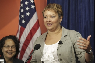 Environmental Protection Agency Administrator Lisa P. Jackson speaks at the announcement of an electronics recycling initiative with Dell Computer and others in Austin on July 20, 2011.