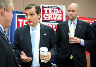 Adviser Jason Johnson (right) helped former Solicitor General Ted Cruz rise from underdog to champion in the 2012 Republican U.S. Senate primary.
