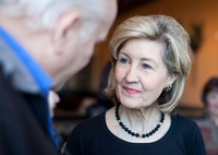 U.S. Sen. Kay Bailey Hutchison talks with supporters at the Bonnie Ruth's Cafe in Frisco during her run for governor.