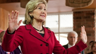 U.S. Senator Kay Bailey Hutchison campaigns in suburban San Antonio on Thursday in her bid for the Republican nomination for Texas Governor.  Hutchison campaigns at the Chirojava cafe in downtown Seguin, Texas.