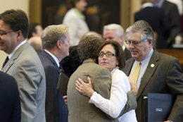 State Rep. Lois Kolkhorst, R-Brenham, gets a hug as the House adjourns sine die on June 29, 2011.