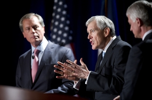Tom Leppert and David Dewhurst, left, and Glenn Addison, right, during a U.S. Senate GOP candidate debate on Jan. 12, 2012.