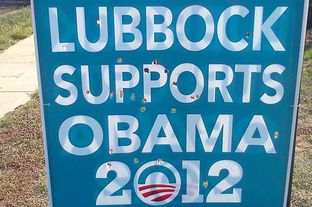 The Lubbock County Democratic Party says signs proclaiming support for Barack Obama have been defaced. Party officials say this sign was shot full of holes, possibly from a paintball gun.