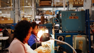 Factory workers in Ciudad Juárez assemble components for hair dryers on a manufacturing line managed by El Paso-based TECMA, an outsourcing company that had one of the best years on record in 2009. Last year's success came despite Ciudad Juárez logging more than 2,600 murders.