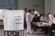 Voters line up to cast ballots in Mexico's presidential election Sunday at a voting sight on Popocatepetl street in Mexico City's Colonia Condesa.