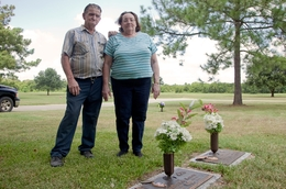 Steven Hardin's parents, photographed near his burial plot.