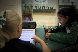 Blackwell middle school students study on their iPads, which all students receive starting in seventh grade.