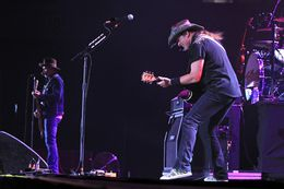 Ted Nugent performs with his band during the May 1 concert in Hidalgo, Texas.