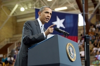 President Obama speaks to a crowd at the University of Texas on Aug. 9, 2010.