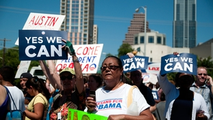 Obama supporters awaiting President Obama's motorcade Austin, Texas on August 9, 2010.
