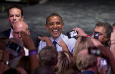 President Obama working the rope line after his Austin Music Hall speech on July 17, 2012.