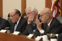 Senators Juan Hinojosa _(D-Mission), Chairman Steve Ogden (R-Bryan) and John Whitmire (D-Houston) listen to testimony in the Senate Finance Committee hearing on January 31, 2011.