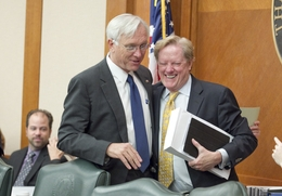 Senate Finance Chairman Steve Ogden (l), R-Bryan, and State Rep. Jim Pitts (R-Waxahachie), share a laugh after the Appropriations Conference Committee passed out HB1 on a 9-1 vote on May 26, 2011.