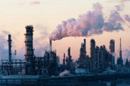 An oil refinery is shown in the Houston Ship Channel in 2011.