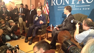 U.S. Congressman Ron Paul headlines a town hall in Meredith, NH. About 500 supporters and undecided voters showed up to hear him speak ahead of Tuesday's primary.