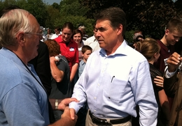Rick Perry at a house party in New Hampshire on Sept. 3, 2011.