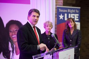 Gov. Rick Perry at a press conference announcing his support for Texas Right to Life's Preborn Pain Bill in Houston on Dec. 11, 2012.