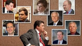 Surrounding Gov. Rick Perry are (clockwise, from bottom left) Jeffrey Boyd, Mike Toomey, David Medina, Deirdre Delisi, Mike McKinney, Phil Wilson, Jay Kimbrough and John Steen.