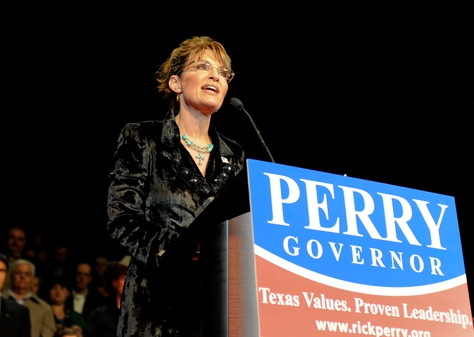 Former Alaska Gov. Sarah Palin at a campaign event for Gov. Rick Perry in 2010.