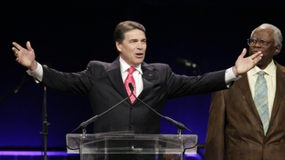 "Governor Rick Perry addresses ""The Response"" at Reliant Stadium in Houston on August 6, 2011."