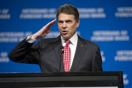 Gov. Rick Perry at the Veterans for Foreign Wars annual convention in San Antonio on Aug. 29, 2011.