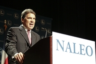 Texas Governor Rick Perry speaks to the National Assn. of Latino Elected Officials (NALEO) convention in San Antonio on June 23, 2011.