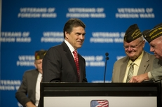 Gov. Rick Perry speaks at the Veterans of Foreign Wars annual convention in San Antonio on Aug. 29, 2011.