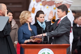 Gov. Rick Perry swears into office in 2011.