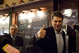Gov. Rick Perry and Sheriff Joe Arpaio campaign in Creston, Iowa on December 27, 2011.