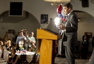 Governor Rick Perry speaks to Waterloo Republicans at the Electric Park Ballroom Lincoln Day dinner on his first foray to Iowa on August 14, 2011.